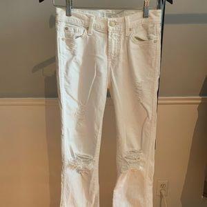 7forallMankind white distressed crop flare jeans🤍